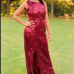 Dresses & Skirts - Size 8, sequins red formal dress, with slit.